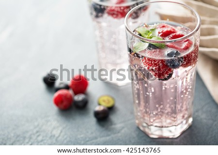 Sparkling water with mint, raspberries and blueberries Royalty-Free Stock Photo #425143765