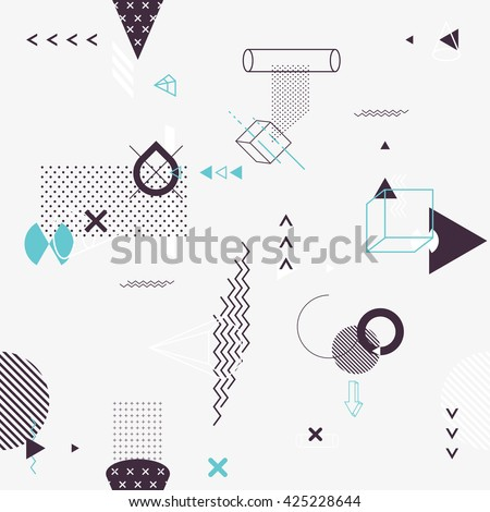 Seamless background of geometric elements Royalty-Free Stock Photo #425228644