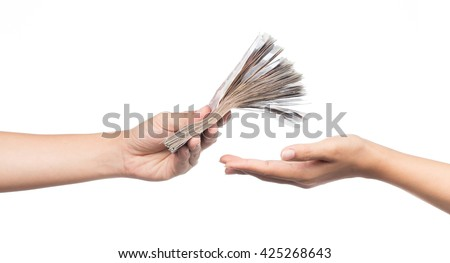 hands giving money isolated on white background Royalty-Free Stock Photo #425268643