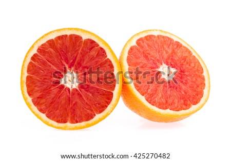 cut of orange isolated on white background #425270482