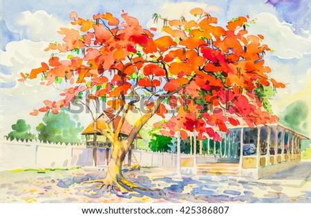 Abstract Red Orange Watercolor Painting Original Art