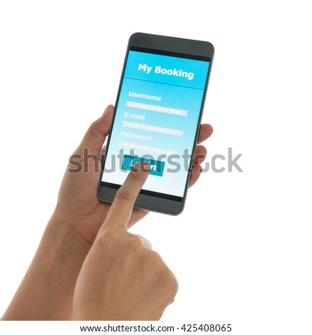 Using mobile smart phone Booking hotel isolated on white background With clipping path. #425408065