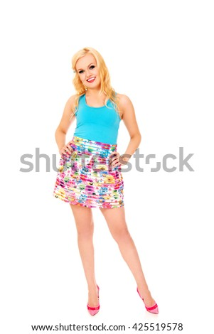 Happy summer woman in colorful skirt  #425519578
