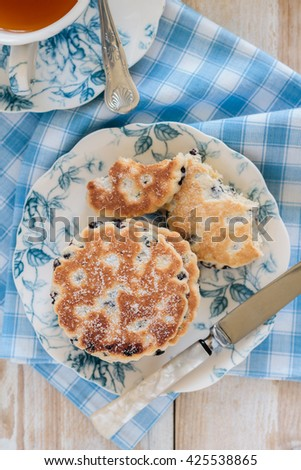 Welsh cakes or Pic ar y maen a traditional griddle cake made with dried fruit top down view