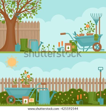 Concept of gardening. Garden tools.  Banner with summer garden landscape. Flat style, vector illustration.