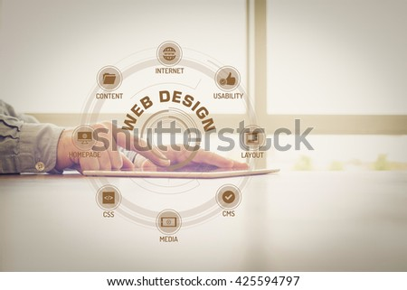 WEB DESIGN chart with keywords and icons on screen #425594797
