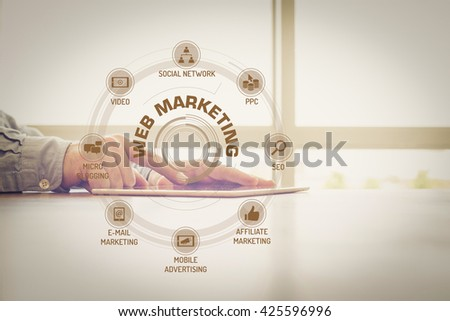 WEB MARKETING chart with keywords and icons on screen #425596996