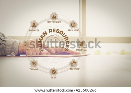 HUMAN RESOURCES chart with keywords and icons on screen #425600266