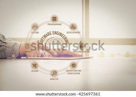 SOFTWARE ENGINEERING chart with keywords and icons on screen #425697361