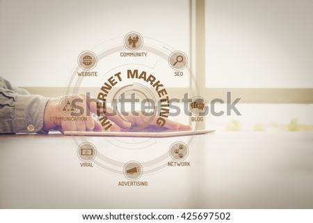 INTERNET MARKETING chart with keywords and icons on screen #425697502