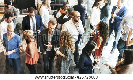 Business People Meeting Eating Discussion Cuisine Party Concept Royalty-Free Stock Photo #425728009