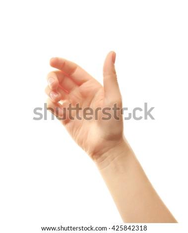 Female hand on white background #425842318