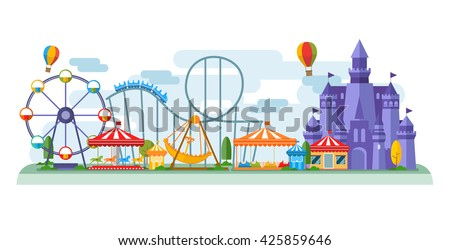 Amusement Park in flat colorful vector style Royalty-Free Stock Photo #425859646