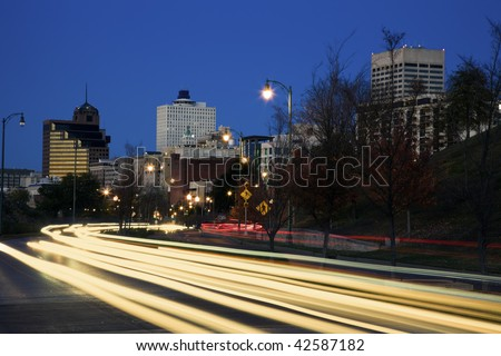 Traffic in downtown Memphis, Tennessee, USA.