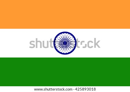 India flag, official colors and proportion correctly. National India flag. Vector illustration. EPS10. Royalty-Free Stock Photo #425893018