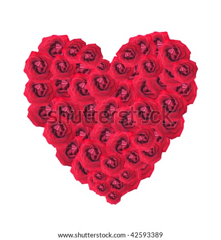 Red heart from roses on a white background, it is isolated. #42593389