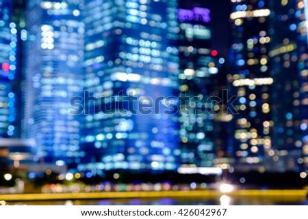 City night lights bokeh of singapore blurred background #426042967