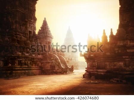 Amazing sunrise at Prambanan Temple. Great Hindu architecture in Yogyakarta. Java island, Indonesia Royalty-Free Stock Photo #426074680
