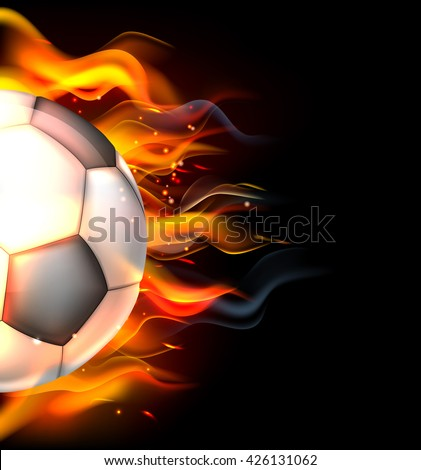 A flaming soccer football ball on fire concept