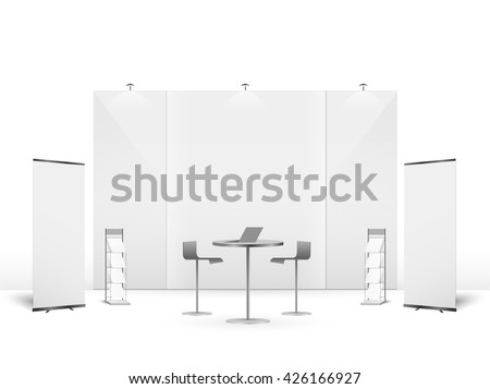 White creative exhibition stand design. Booth template. Corporate identity vector Royalty-Free Stock Photo #426166927