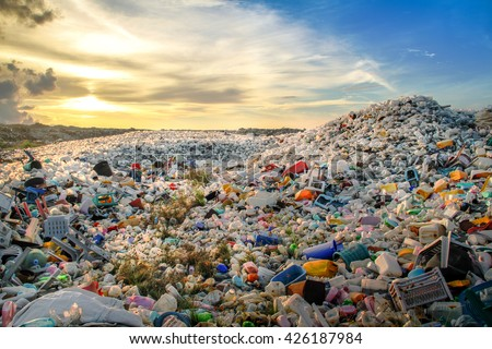 waste plastic bottles and other types of plastic waste at the Thilafushi waste disposal site. #426187984