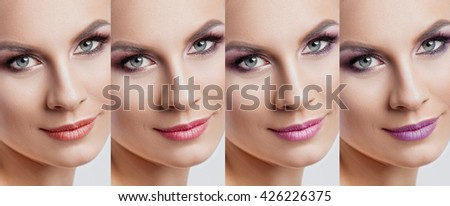 Collection: eyes and lips red and purple hues. The palette of lipsticks. Close-up #426226375