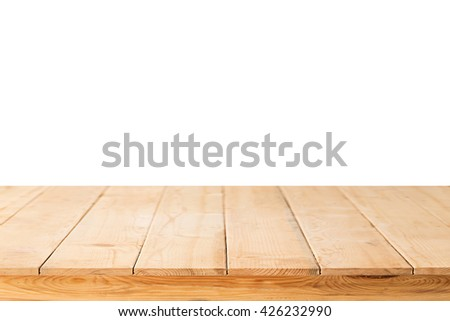 wooden table mock up platform for interior decoration design for advertising decoration with wooden table texture background. #426232990