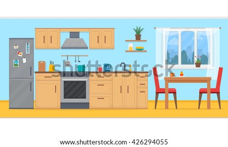 Kitchen with furniture. Cozy kitchen interior with table, stove, cupboard, dishes and fridge. Flat style vector illustration. Royalty-Free Stock Photo #426294055