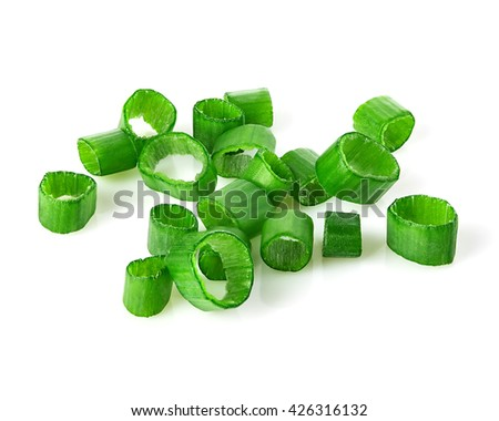 Chopped green onions close-up isolated on a white background. #426316132