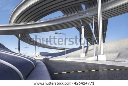 3D rendering of empty highway transportation concept #426424771