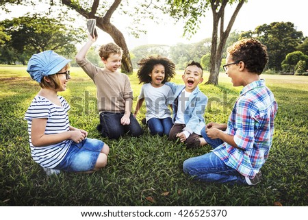 Kids Fun Playful Happiness Retro Togetherness Friendship Concept #426525370