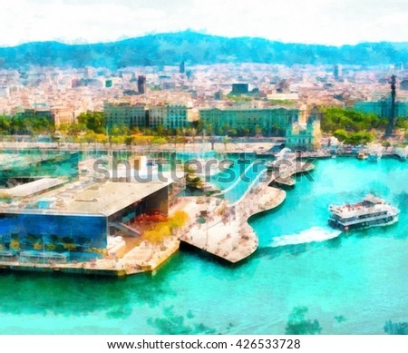 Watercolor view of the urban landscape of Barcelona with the sea. Digital painting structure #426533728