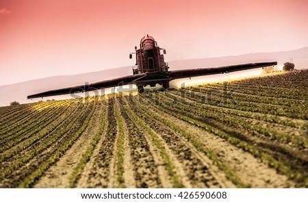 Spraying soybean crops #426590608