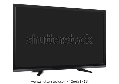 Frontal view of widescreen internet tv monitor isolated on white background #426651718