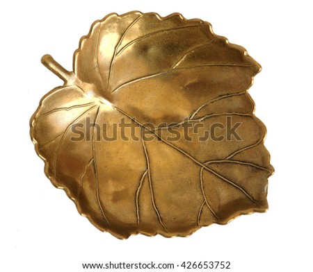Bronze vase in the shape of a leaf isolated on white background                                 #426653752