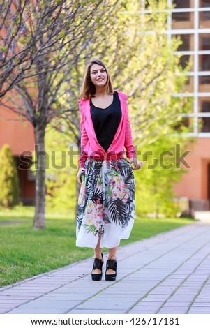 Portrait of beautiful girl skirt jacket #426717181