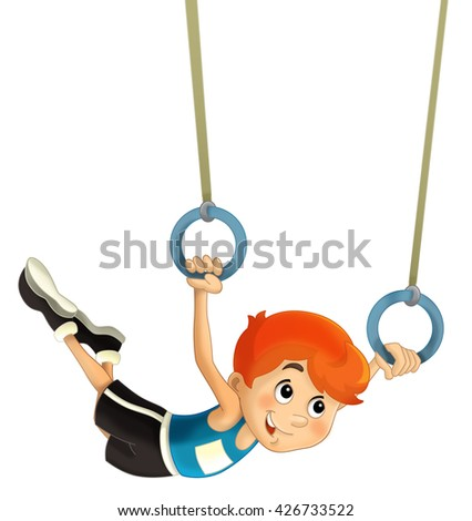 Cartoon child training - isolated -  illustration for the children