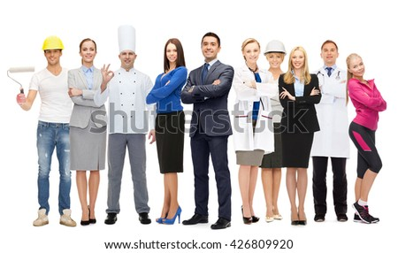 people, profession, qualification, employment and success concept - happy different businessman over group of professional workers Royalty-Free Stock Photo #426809920
