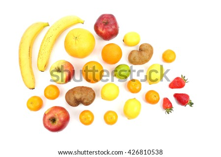 large assortment of fruit on white background #426810538