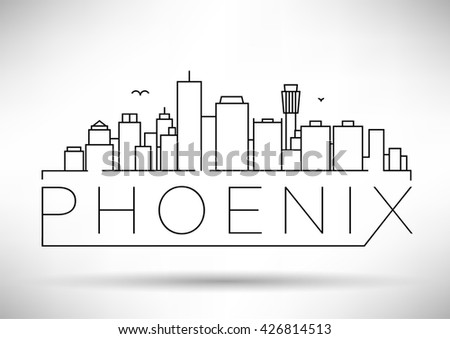 Minimal Phoenix City Linear Skyline with Typographic Design