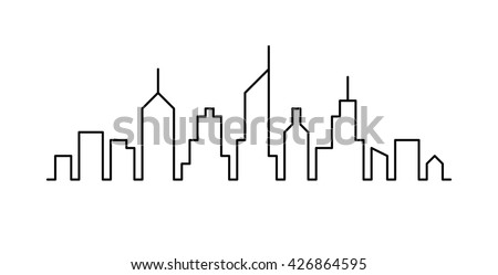 Line sketch cityscape design. Abstract black background Royalty-Free Stock Photo #426864595