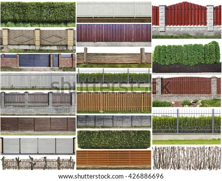Green plants hedge and wooden rural fence  isolated on top fragments big set. All images you can find in my portfolio #426886696