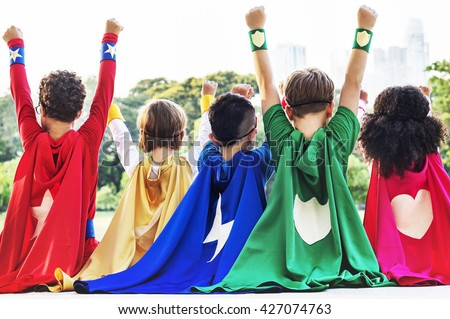 Superheroes Kids Friends Playing Togetherness Fun Concept #427074763