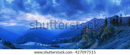 Caucasus Mountains. Mountain peaks of the Caucasus #427097515