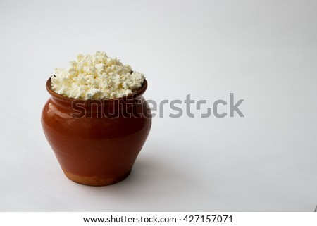 cottage cheese in a pot #427157071