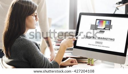 Digital Marketing Media Web Design Ideas Concept #427204108