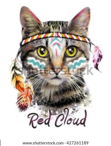 Cat face illustration. American indian animal design.