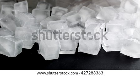 pile of different ice cubes on black background #427288363