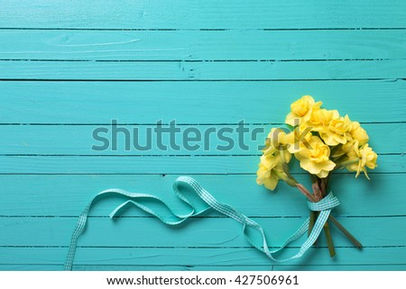 Bunch of  yellow narcissus or daffodil flowers on turquoise wooden background. Selective focus. Place for text. Flat lay.