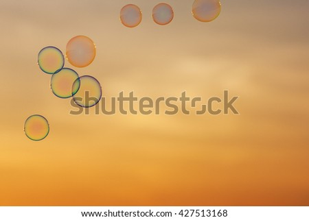 lot of bubbles on the background of sunset sky #427513168